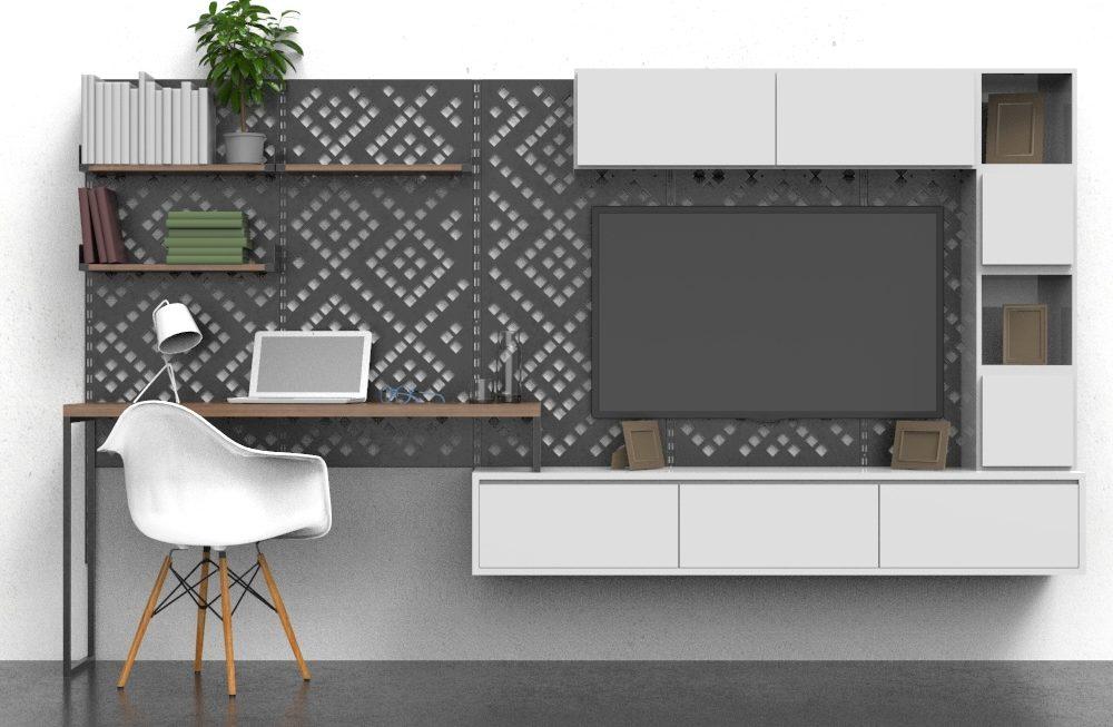 Oficina en casa: usos de chapa perforada decorativa
